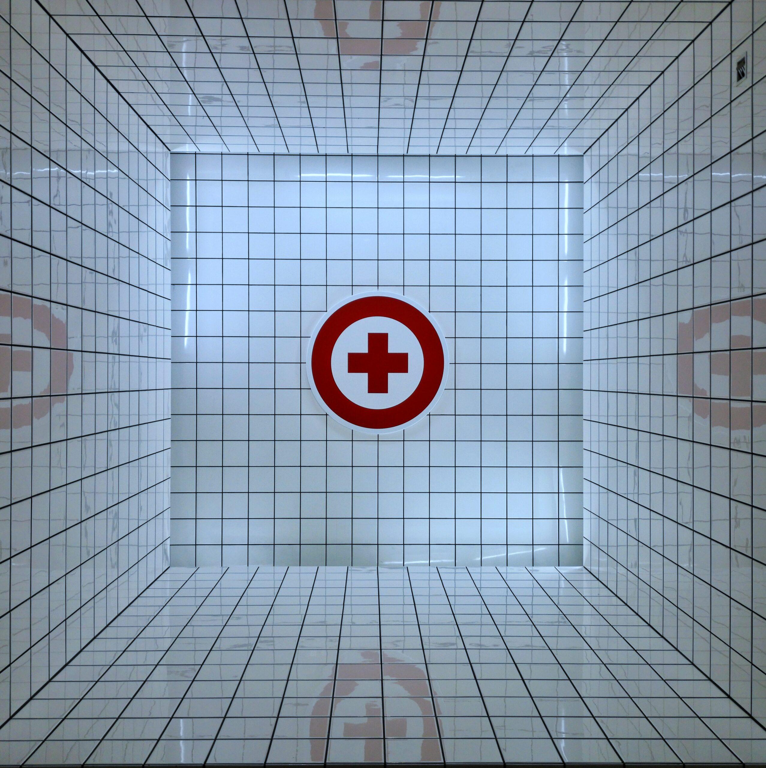 Medical symbol in a grid