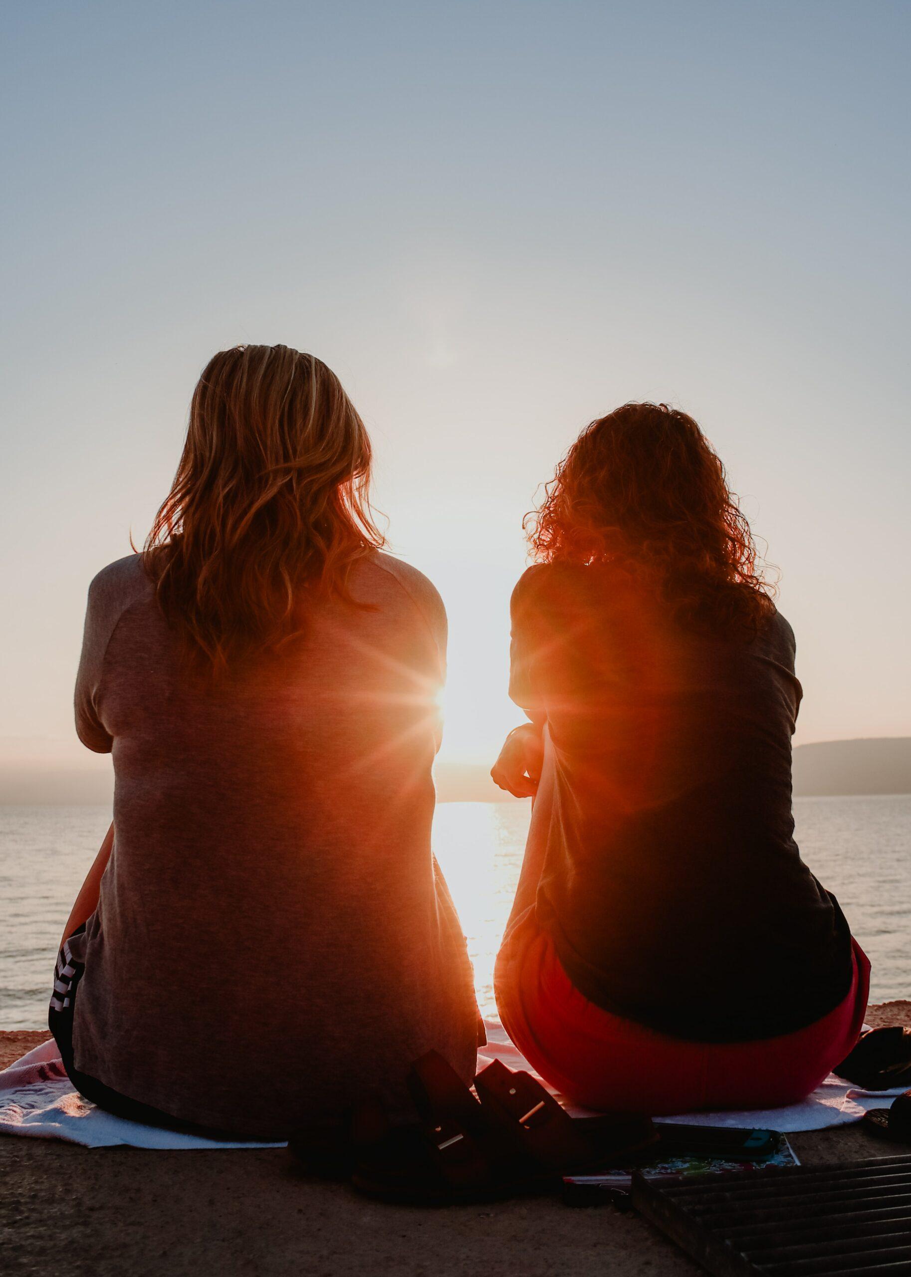 Friends enjoying a sunset