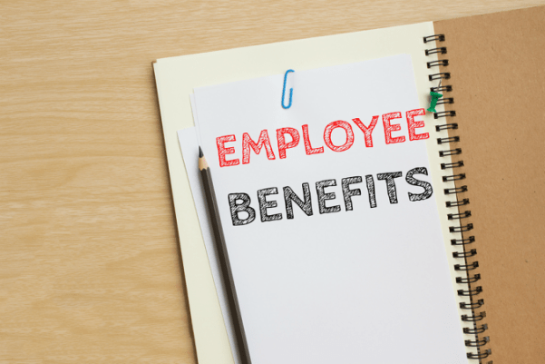 Piece of paper with the words employee benefits inside a folder